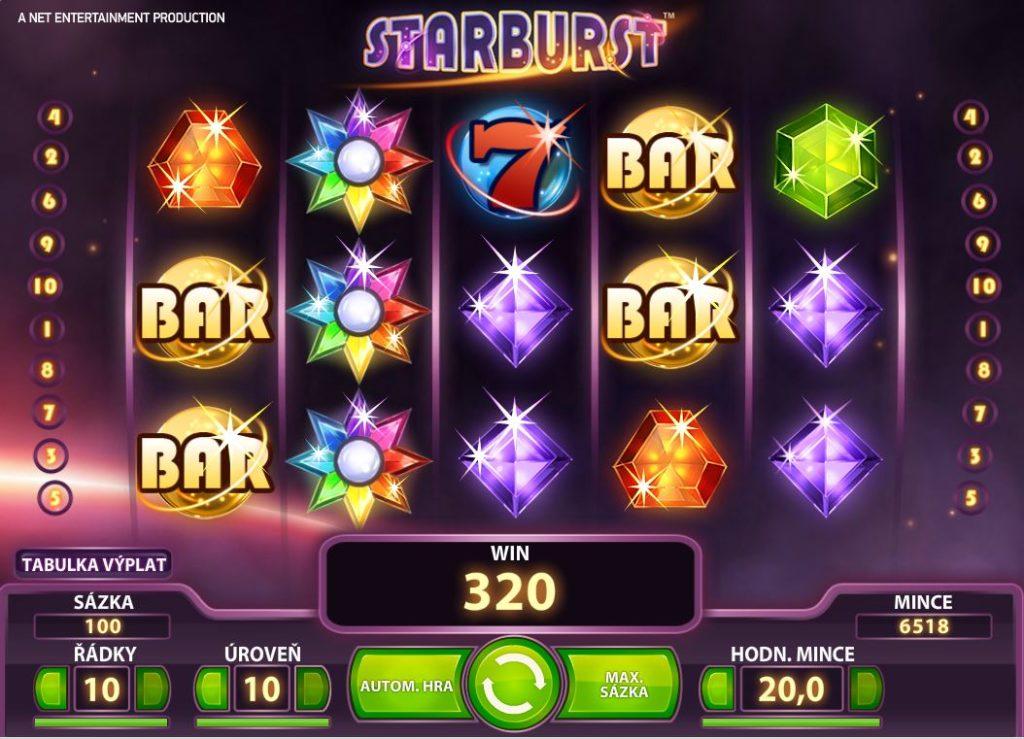 Bohemia casino výhra na Starburst